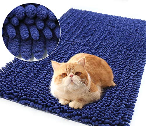 Vivaglory 35½ x 23¾inch Large 3D Design Litter Box Mat, Soft Cat Litter Mat Rug for Kitty Puppy Small Animal, Best Scatter Control, Machine Washable, Navy