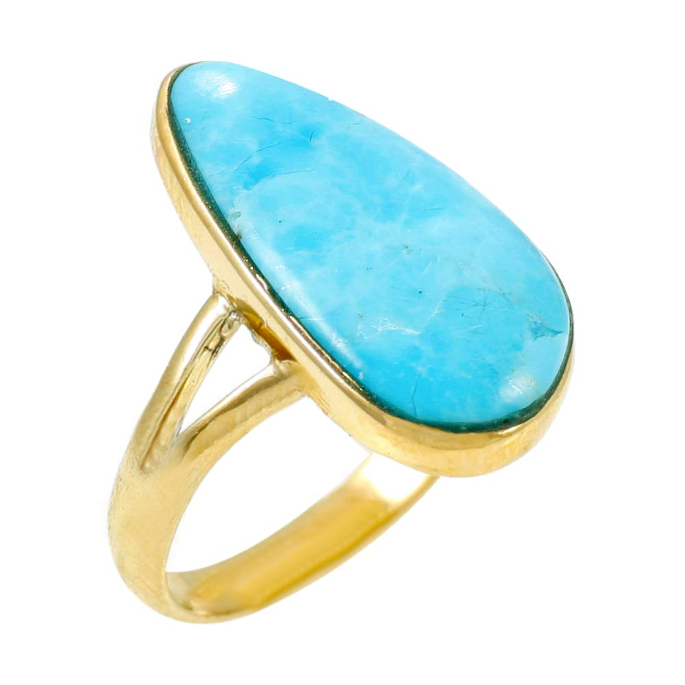 Turquoise Ring in Gold over Sterling Silver 925 with Genuine Turquoise (SELECT STYLE) (10) by Turquoise Network
