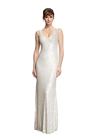 Theia Bridal White Collection Women\'s Sleeveless Harlow Wedding ...