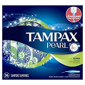 Tampax Pearl Plastic Tampons, Super Absorbency, Unscented, 36 Ct (Packaging May Vary)