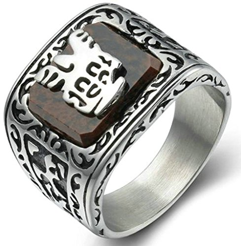 AmDxD Jewelry Stainless Steel Men's Engagement Rings Brown Retro Pattern Size (Brown Pattern Ring)