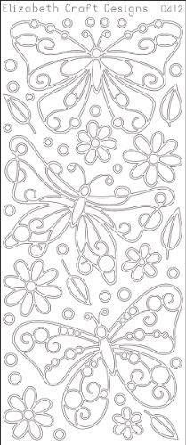 "Big Butterflies Peel Off Stickers 4""X9"" Sheet-Black"