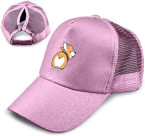 e5479a003b9d5 Corgi Butt Trend Glitter Baseball Cap for Women s High Ponytail Messy Bun  Trucker Hat