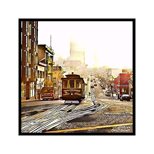 (Cable Cars of San Francisco Against Fog- Framed Print Hangable Wall Decor)