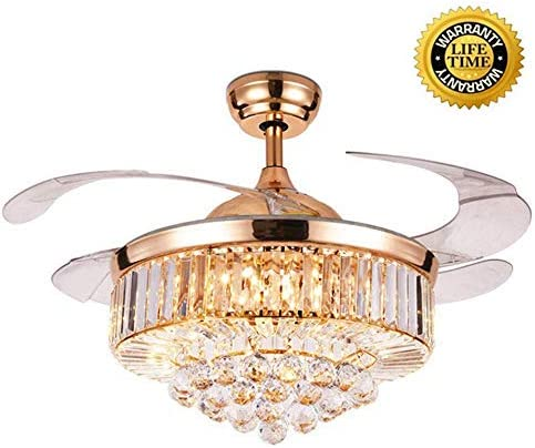 42 Inch Modern Retractable Ceiling Fan with Crystal, Dimmable LED Light and Remote Control,3 Light Change Silent Fan Chandelier,for Living Room Bedroom Restaurant Hallway