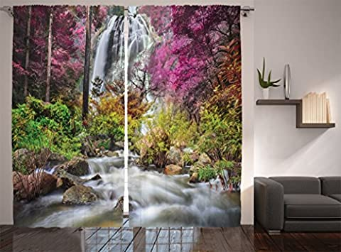 Ambesonne Waterfall Decor Collection, Colorful Forest Bush Feigned Stream Trees Grass Photography, Window Treatments, Living Room Bedroom Curtain 2 Panels Set, 108 X 84 Inches, Magenta Green Ivory