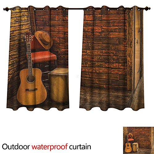 Anshesix Music 0utdoor Curtains for Patio Waterproof Music Instruments on Wooden Stage in Pub Beverage Cafe Counter Bar W55 x L72(140cm x 183cm)