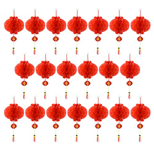 Coopay 20 Pieces Red Chinese Lanterns Decorations for Chinese New Year, Spring Festival, Lantern Festival Celebration Supplies Or -
