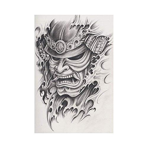 (Polyester Garden Flag Outdoor Flag House Flag Banner,Kabuki Mask Decoration,Warrior Samurai Drawing Angry Expression Historical Figure Artwork Decorative,Black White,for Wedding Anniversary Home Outdo)