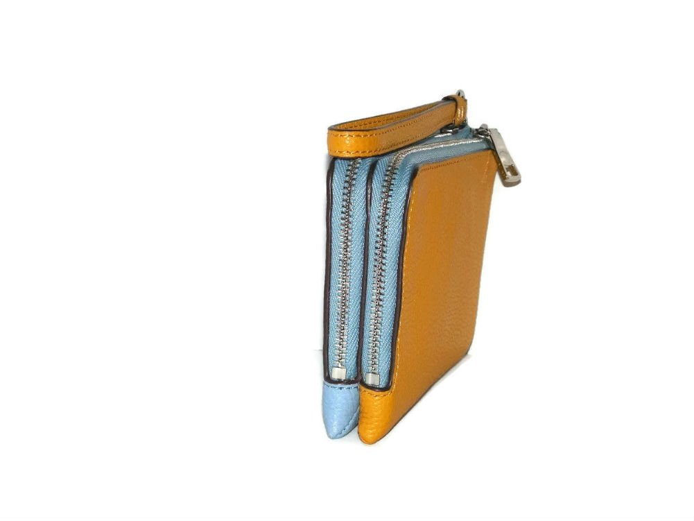 Coach Colorblock Double Corner Zipper Blue Sunflower Yellow Leather Wristlet, 64799 by Coach (Image #6)