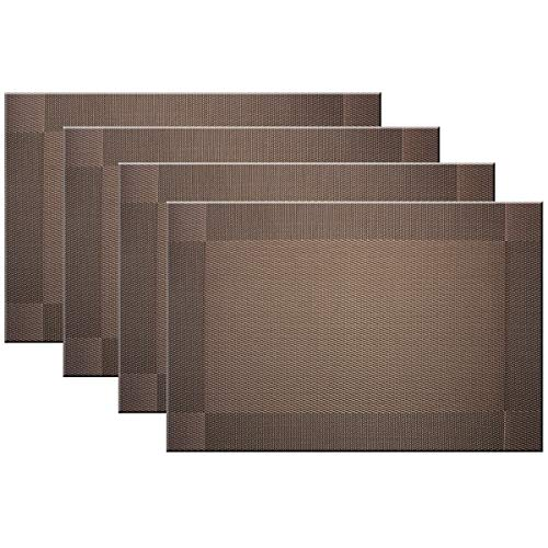 Bright Dream Placemats Washable Easy to Clean PVC Placemat for Kitchen Table Heat-resistand Woven Vinyl Table Mats 12x18 inches Set of 4 (Brown) (Table For Kitchen Placemats)