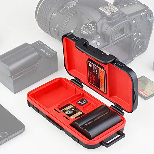 SD Card Holder,Camera Battery Case Holder and Memory SD TF CF Card Case Waterproof Camera Battery Holder for LP-E6 /LP-E8 /LP-E10 /LP-E12 /LP-E17 /NP-FW50 /NP-W126 /NP-BX1 /EN-EL14 /EN-EL15 /NB-11L