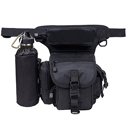 Bottle Motorcycle Water (A.B Crew Waterproof Tactical Drop Leg Bag with Water Bottle Pouch Motorcycle Hiking Cycling Thigh Pack Waist Belt, Black)