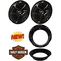 JVC CS-J620 300W 6-1/2 CS Series 2-Way Coaxial Car Speakers And Metra 82-9601 6-1/2 to 6-3/4 Speaker Adapter for 1998-2013 Harley Davidson Touring Models