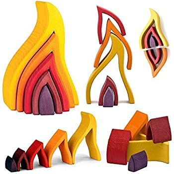 Grimm's Large Fire Flames Nesting Wooden Stacker Blocks Puzzle, Elements of Nature: FIRE