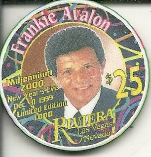 $25 riviera obsolete las vegas casino chip new years eve 2000 frankie avalon
