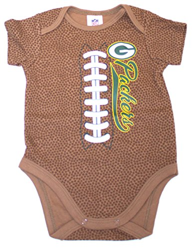 NFL Green Bay Packers Unisex-Baby Football Bodysuit, Brown, 0-3 Months - Green Bay Packers Brown Football