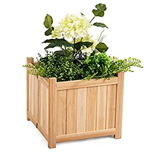 Giantex Portable Flower Planter Box Raised Vegetable Patio Lawn Garden Backyard Elevated Outdoor Wood Planter Boxes (Natural Square)