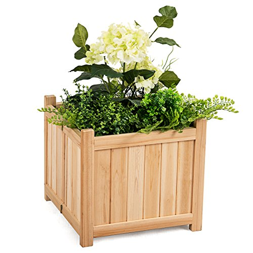 (Giantex Portable Flower Planter Box Raised Folding Vegetable Patio Lawn Garden Backyard Elevated Outdoor Wood Planter Boxes, 15