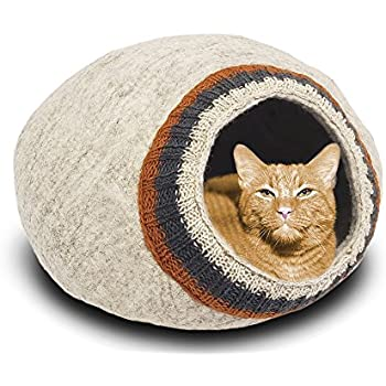 MEOWFIA Premium Felt Cat Bed Cave (Medium) - Eco-Friendly 100% Merino Wool Cat Bed (L.Gray/K/Med)