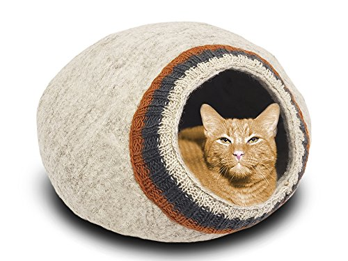 MEOWFIA Premium Wool Cat Bed Cave (Large) - Eco-Friendly 100% Felted Wool Cat Bed for Cats and Cat Lovers (Large, Light Gray with Knitting) ()