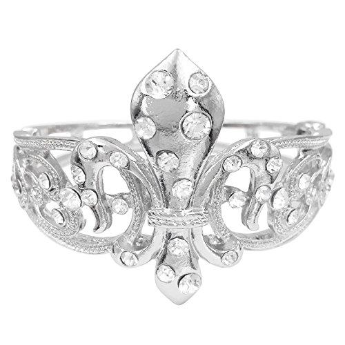 Gypsy Jewels Fleur De Lis Rhinestone Statement Bracelet (Swirl Hinged Silver Tone)