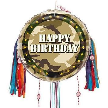 PARTYRama Piñata con cordón de Camuflaje para cumpleaños ...