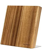 Magnetic Knife Holder - Stylish Acacia Wooden Knife Block WITHOUT KNIVES with Strong Magnets | Kitchen Magnetic Knife Holder Protects Your Knives | Ideal Kitchen Knife Storage Organizer Block