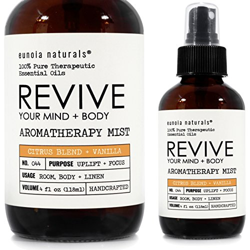 Revive Your Mind + Body, Citrus + Vanilla Aromatherapy Spray, Citrus Blend, Energy Boost, Citrus Essential Oil, Citrus Aromatherapy, Orange Oil, Extra Large 4oz Large Glass Bottle, eunoia (Revive Body Care)