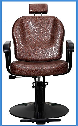 All Purpose Salon Barber Chair Brown Color with Titling Function and Hydraulic Lifting System for Hair Cutting Styling Shampoo Shave Waxing Makeup