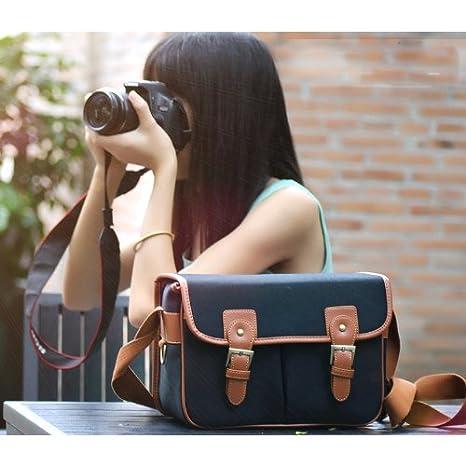 Vintage Canvas piel bolsa de la cámara bolso bandolera para ...