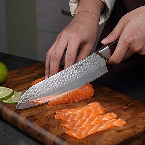 Santoku Knife 7 Inch, PAUDIN Pro kitchen knife High Carbon German Stainless Steel 7Cr17Mov Hammered Pattern, Sharp Knife with Ergonomic Pakka Wood Handle by PAUDIN (Image #4)