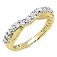 Dazzlingrock Collection 0.55 Carat (ctw) 14K Round Diamond Ladies Wedding Guard Contour Band 1/2 CT, Yellow Gold, Size 7.5