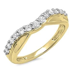 0.55 Carat (ctw) 14K Gold Round Cut Diamond Ladies Anniversary Wedding Guard Contour Band 1/2 CT