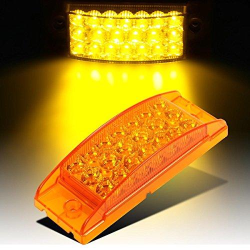 Partsam Sealed, Rectangular LED Trailer Clearance, Side Marker Light, 21 Diodes - Amber (El Camino Bed)