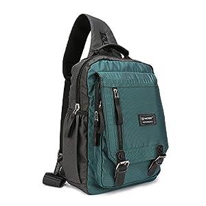 Nicgid Sling Bag Cross Body Messenger Bag One Strap Backpack Travel Shoulder Bag For Laptop Tablet Ipad Outdoor Hiking (Dark Green (Fits13.3-Inch Laptop))