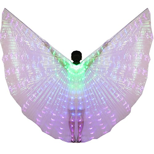Swing Dance Costumes (Dance Fairy Belly Dance LED Isis Wings with Stick(Green-blue-purple))