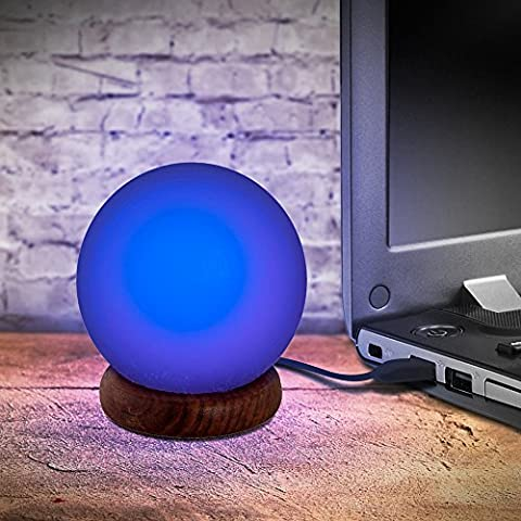 USB Natural Himalayan Salt Ball Lamp with changing colors (2 pounds) (USB Ball) - Winter Ball Natural