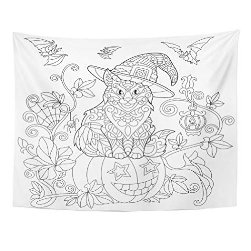 Tarolo Decor Wall Tapestry Coloring Page of Cat in Hat Sitting on Halloween Pumpkin Flying Bats Spider Lantern Candle Freehand Sketch 60 x 50 Inches Wall Hanging Picnic for Bedroom -