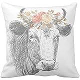 Farmhouse Pillow Farmhouse Floral Cow Pillow Cover
