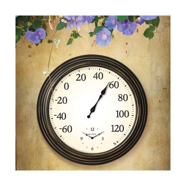 AcuRite-00780-16-Inch-IndoorOutdoor-Thermometer-and-Clock-Combo