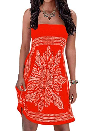 (Inital Women's Strapless Dress Floral Print Bohemian Beach Dress Bikini Cover-up Dress, Orange ,X-Large)