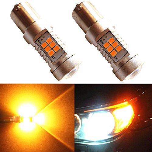 Alla Lighting Amber Yellow 1156 BA15S 7506 High Power 3035 27-SMD Super Extremely Bright LED Lights Bulbs for Turn Signal Blinker Side Marker Light -