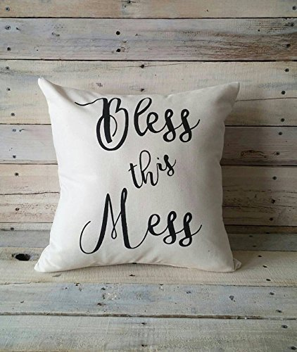 Bless this Mess Pillow Cover, 16x16 Decorative Pillowcase, Throw Pillow Cover, Wedding Gift, Home Décor