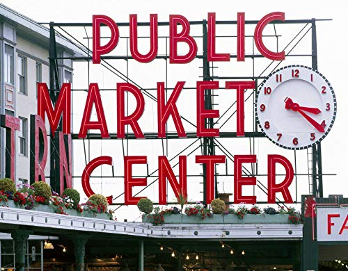 "Seattle, WA Photo - Pike Place Market sign (""Public Market Center"") with clock- Highsmith"