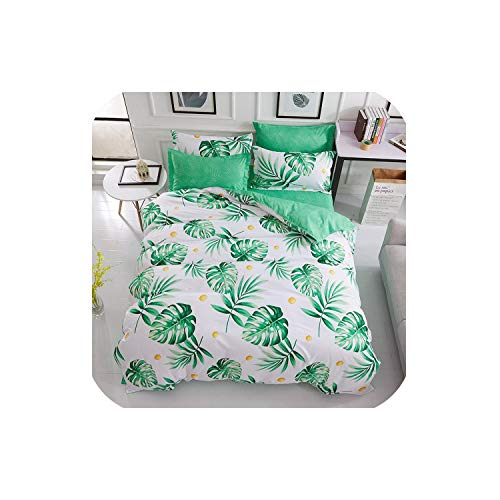 LOVE-JING Green Lemon Winter Bedding Sets Full King Twin Queen King Size 4Pcs Bed Sheet Duvet Cover Set Pillowcase Without Comforter,B16,Full Cover 180By220,Flat Bed Sheet