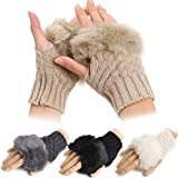 Kizaen Womens Faux Rabbit Fur Knitted Hand Wrist Warmer Fingerless Gloves Winter Glove
