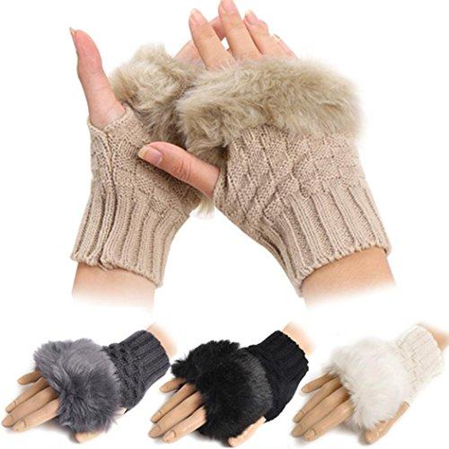 Kizaen Womens Faux Rabbit Fur Knitted Hand Wrist Warmer Fingerless Gloves Winter Glove