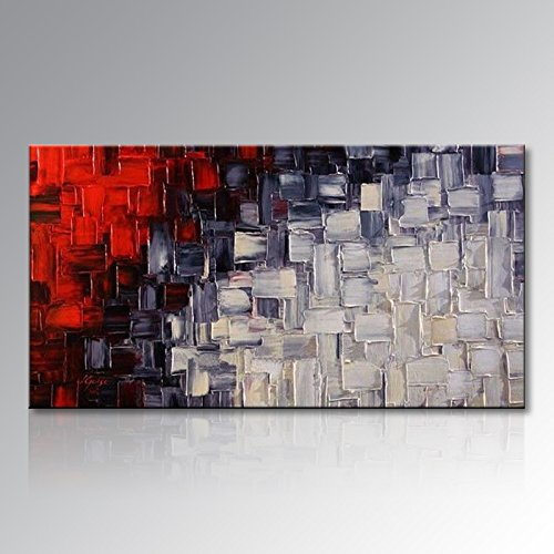 Abstract Modern Painting - Seekland Large Hand Painted Red and White Abstract Acrylic Canvas Wall Art Modern Artwork Contemporary Painting for Living Room Stretched Ready to Hang (Framed 60