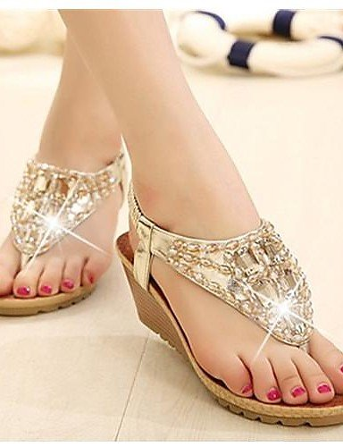 LFNLYX Zapatos de mujer - Tacón Cuña - Tacones / Chanclas / Tira en T - Sandalias - Oficina y Trabajo / Vestido - Ante - Plata / Oro Gold